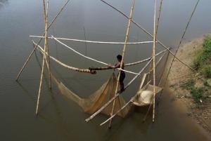 ভরা বর্ষায় নদীতে ভেসাল দিয়ে মাছ ধরছে জেলেরা। ছবি- বিবার্তা২৪.নেট